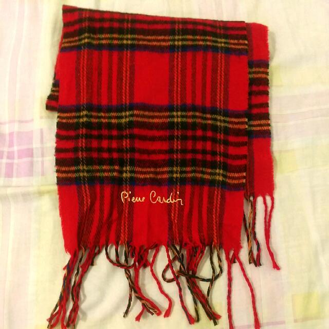 皮爾卡登 紅黑格紋流蘇圍巾