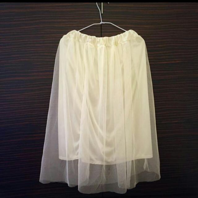 全新 白色蕾絲紗裙