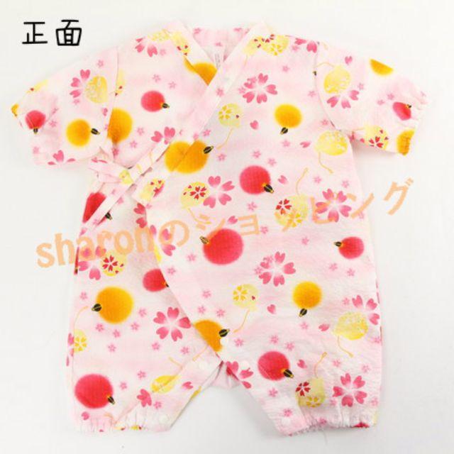 《☀Ⓢⓗⓐⓡⓞⓝ💕日本🇯🇵代購🎀 預購。日本製 粉櫻花燈籠嬰兒連身甚平 ✌✌》