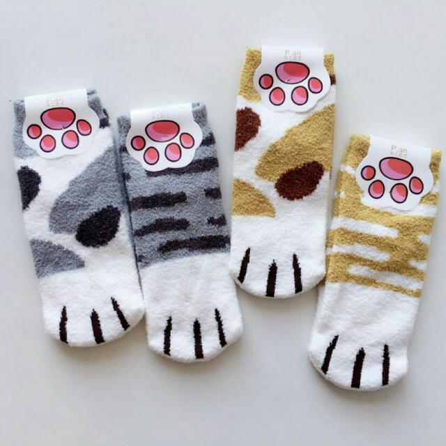 🐾 秋冬新款  韓版 加厚珊瑚絨貓掌襪