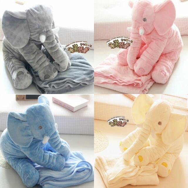 【全部現貨】安撫大象抱枕帶法蘭絨毛毯 嬰兒枕 可機洗 珊瑚絨 可收納披肩 ikea 衝評價
