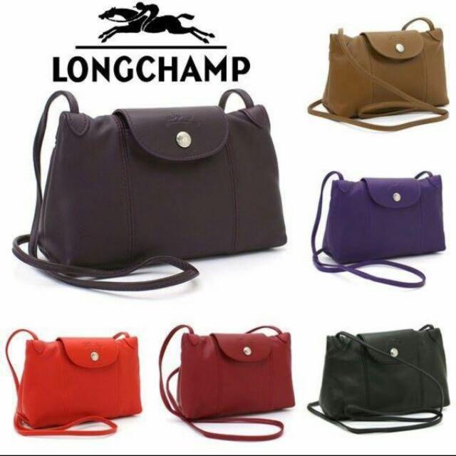 ✈專業歐洲代購👍🏻❣現貨🇫🇷 小羊皮斜背包(郵差包)Longchamp Le Pliage Cuir