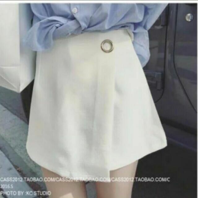 白色側環短褲裙 白色S