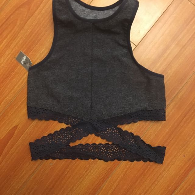 Aerie Blue Grey Bralette Top With Lace Wrap Around