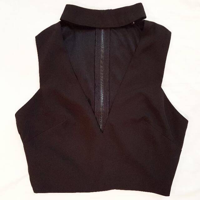 Black Choker Crop Top