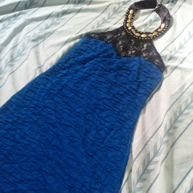 Blue Lacey bodycon Dress