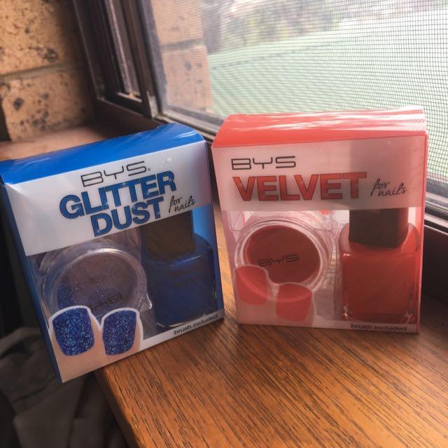 BYS Glitter Dust And Velvet Nails