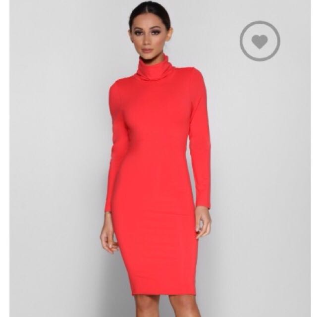 Coral Long Sleeve Dress Size 6