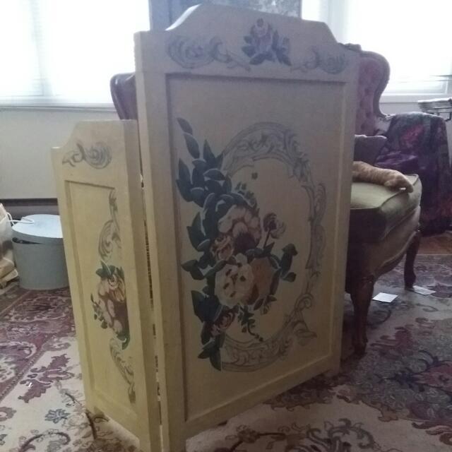 decorative vintage floral fire place wood cover