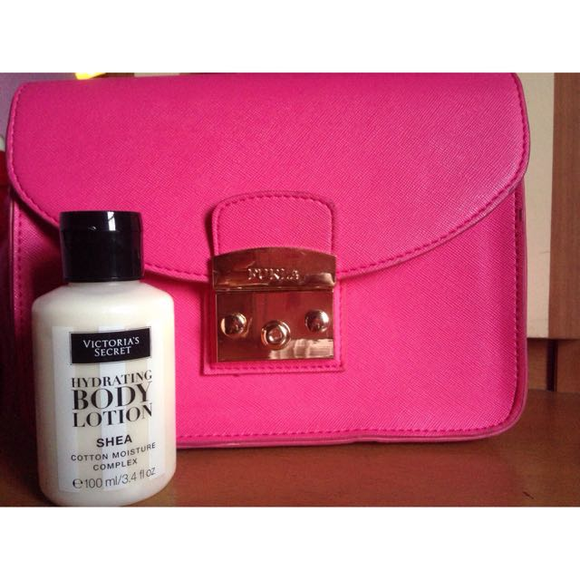 "Furla metropolis mirror authentic and victoria secret hydrathing body lotion ""shea"" cotton moisture complex"