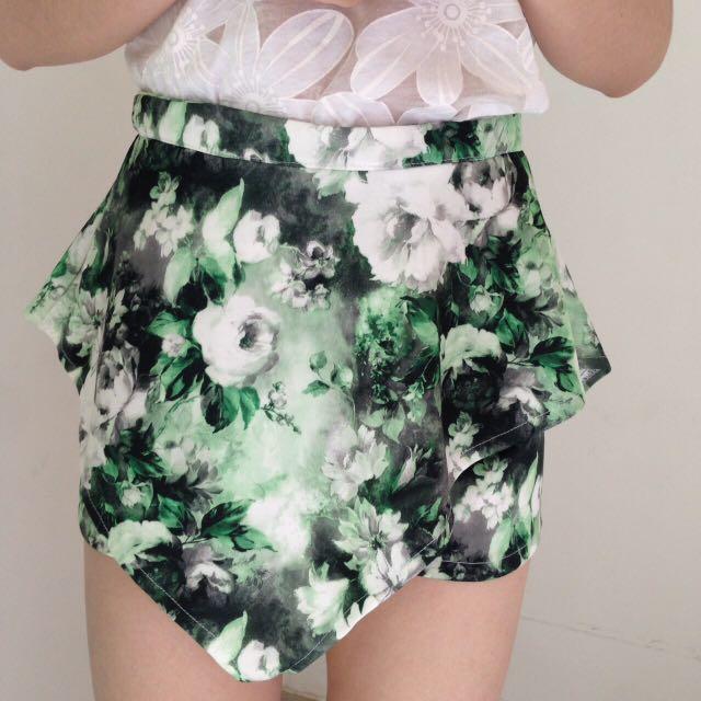 Green Floral Skort