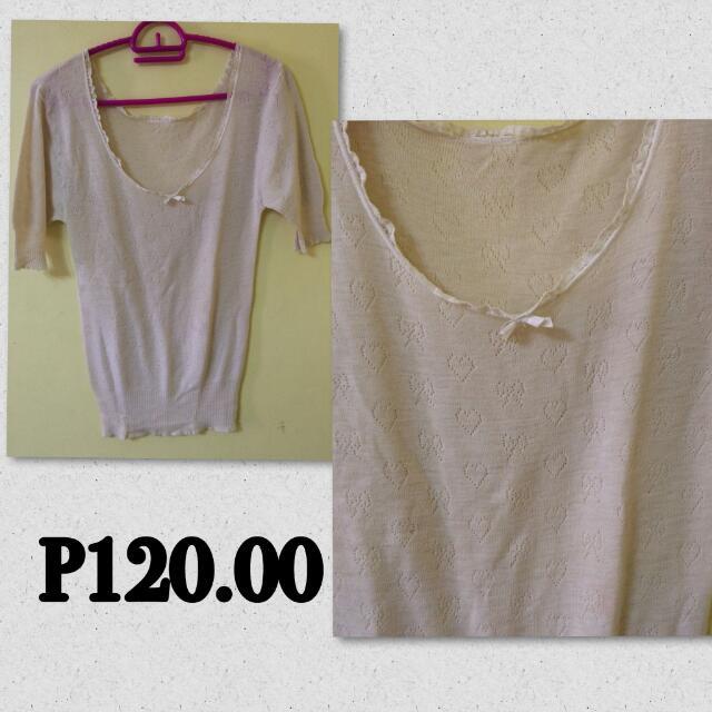 Heart & Ribbon Dirty White Shirt
