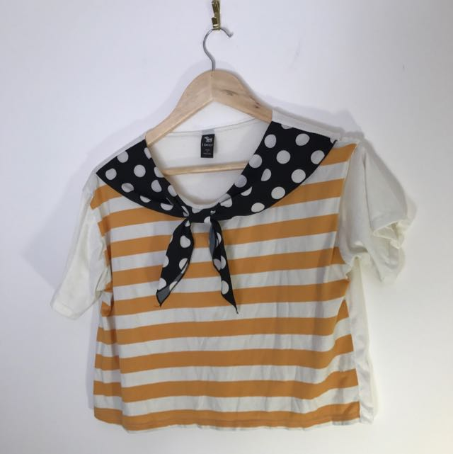 Ideer Cropped Striped Tee With Spotted Scarf Details
