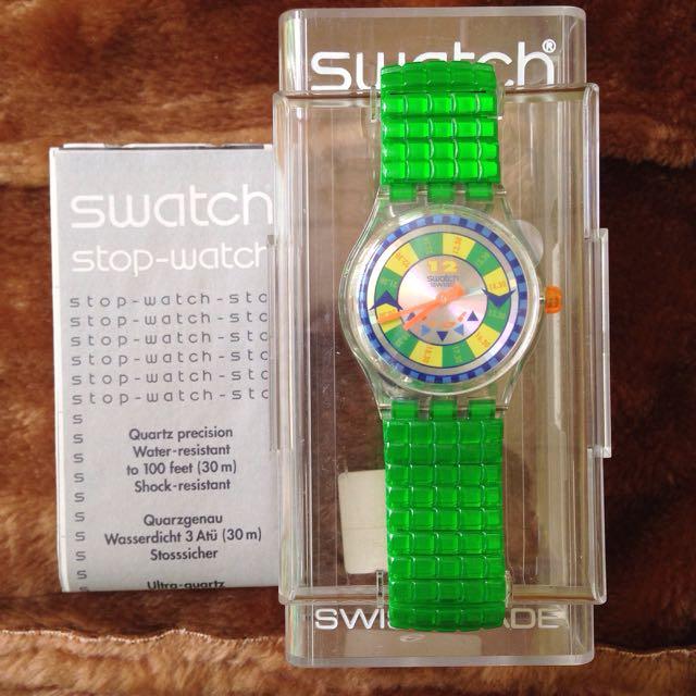 Jam Tangan Swatch Stopwatch Greenspeed-SSK110 Original