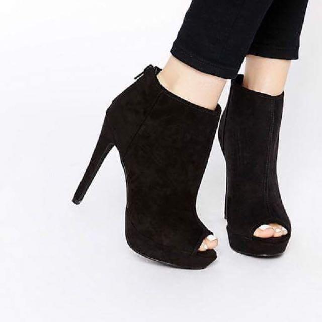 LONDON REBEL Black Platform Peeptoe Heeled Boots