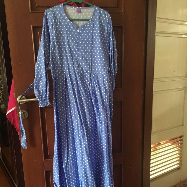 Long Dress Ada 2 Warna Biru Muda Dan Pink,new 😍