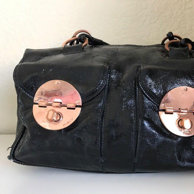 Mimco Black Patent Rose Gold Bag
