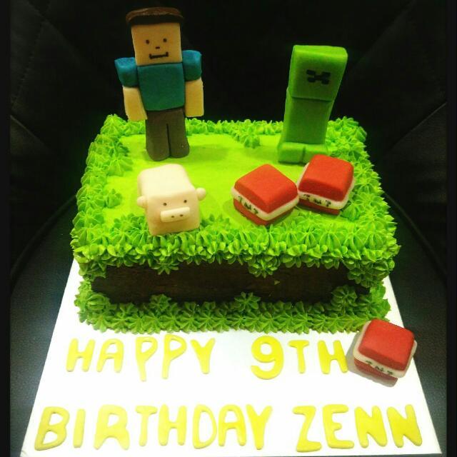 Peachy Minecraft Cake Customized Fondant Or Cream Steve Creeper On Carousell Funny Birthday Cards Online Eattedamsfinfo