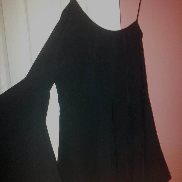 Open Back Flare Sleeve Dress
