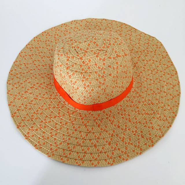 Orange Woven Beach Hat