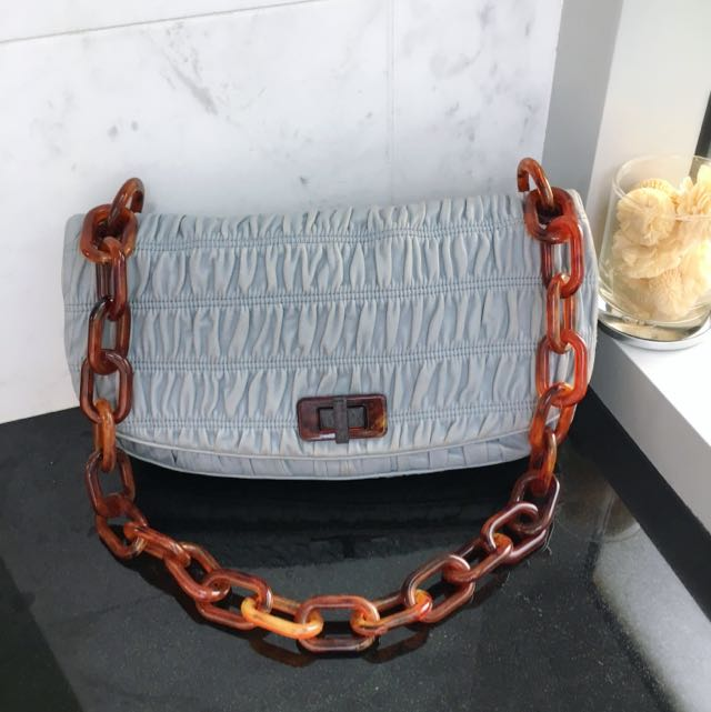 Prada Light Blue Goat Skin Shoulder Bag With Plastic Chain Handle ... bee234e455