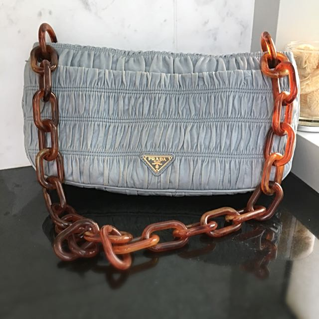 Prada Light Blue Goat Skin Shoulder Bag With Plastic Chain Handle, Luxury,  Bags   Wallets on Carousell 28ec73e430