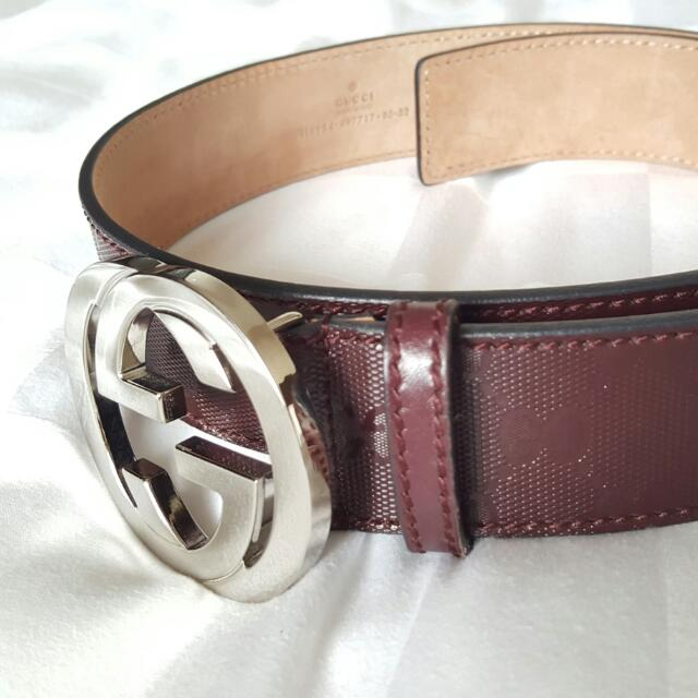 7537e7811 Preloved Unisex Embossed Gucci Belt, Women's Fashion, Accessories on ...
