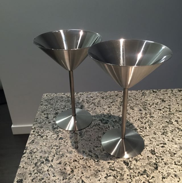 Stainless Steel Martini Glasses - Set Of 4