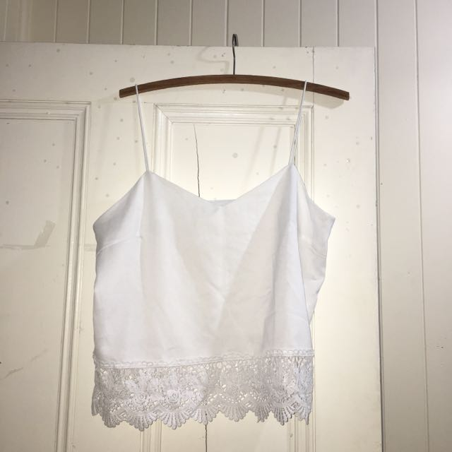 White Cropped Shirt With Lace Detailing