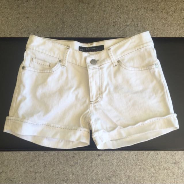 White Denim Shorts Zara Basics