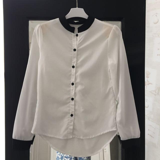 Work Blouse W/ Mao Collar