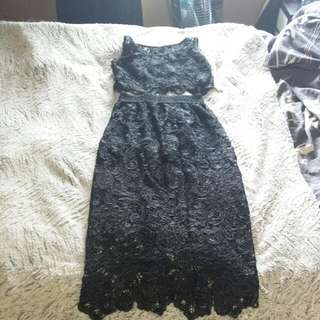 Black Lace Crop Top And Skirt Set