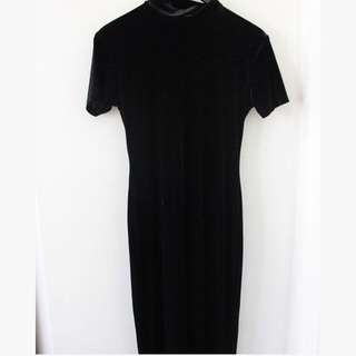 Amazing black velvet high neck maxi dress- Size Small