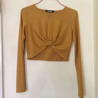 Missguided slinky Mustard Cropped Top W/ Knot