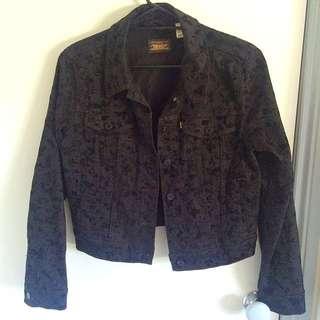 LEVI'S Black Velvet Rose Print Denim Jacket