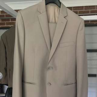 Pure Wool Tailored Suit - Tan