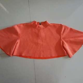 Orange Batwing Crop Top