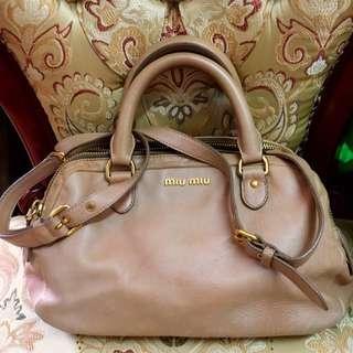 真品 miu miu 波士頓兩用手袋 8成新 果粉紅色 古董 vintage LV CHANEL