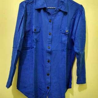 Kemeja Cotton Blue