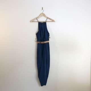 Road Show 100% Silk Dress Navy Blue Sz 6