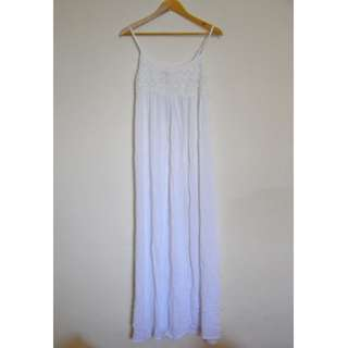 FACTORIE SUMMER GYPSY BOHO MAXI WHITE CROCHET TOP STRAPPY LONG DRESS LADY S 6 8