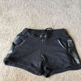 Seed Black Shorts With Leather Details