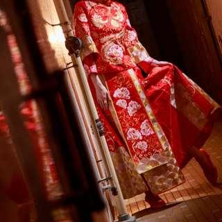 結婚 裙 掛 龍鳳掛 紅色