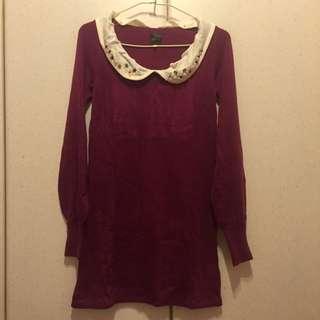 日本大牌Rosebullet 莓紫色寶石領針織洋裝