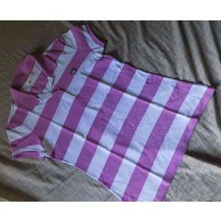 BENCH Purple and White Stripe Polo Shirt