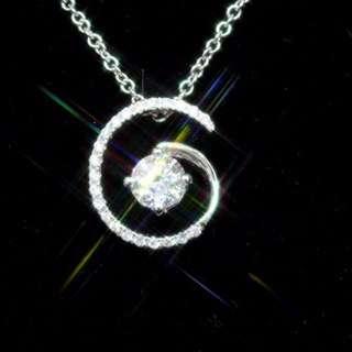 全新18K白金主石38份配小鑽共52份高質閃鑽石吊咀