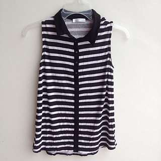 Promod Striped Sleeveless Collared Top