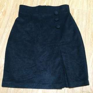 Dark Green Velvet Suede Feel Business Work Skirt
