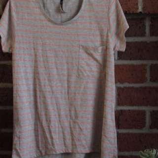 Grey And Orange Striped T-shirt Dress