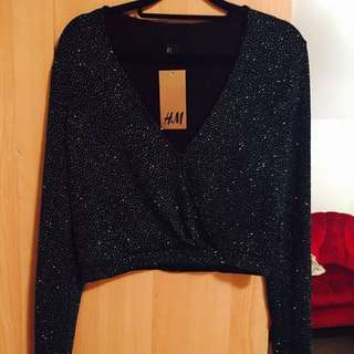 New H&M Short Green Glittery Cardie